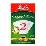 Melitta Cone Coffee Filters, White, No. 2
