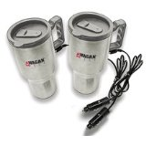Wagan 2 Pack Stainless Steel Heated Travel Mugs