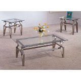 3 Piece Brushed Bronze Coffee Table Set - Glass Tops, Coffee Table and 2 End Tables