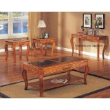 Carved Oak 3 Piece Glass Top Coffee Table Set