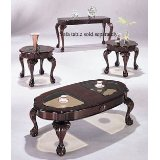 Cherry Finish 3 Piece Coffee Table Set