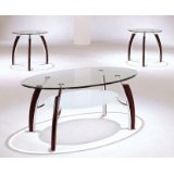 Modern Style 3 Piece Glass Top Coffee Table Set Wood and Chrome