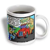Londons Times Funny Society Cartoons - Nervous Starbuck's Driver Gets Citation - Mugs