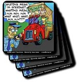 Londons Times Funny Society Cartoons - Nervous Starbucks Driver Gets Citation - Coasters