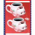 Set of 2 Victorian Ceramic Cat Tea Bag Holder Mugs Cups