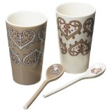 Yedi Coffee and Tea Paisley Heart Cups with Spoons
