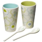 Yedi Retro Flowers Cups with Spoons Set