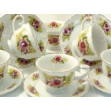 Spring Pansy Tea Cups & Saucers by Lynns Concepts