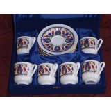 Turkish Coffee Cups and Saucers for Six