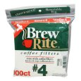Brew Rite #4 Cone Coffee Filters, White Paper, 100-Count Bags