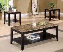 3pc Coaster Coffee Table & End Table Set Marble Top Espresso Finish