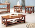 3pcs Cross Design Brown Finish Coffee & End Table Set by Coaster