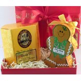 Aloha Island Gift of Gold Kona Blend Coffee and Gingerbread Man Ornament in Red Gift Box