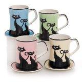 Hues&Brews Cattitude 13-Ounce Mug/Coaster Assortment Set of 4
