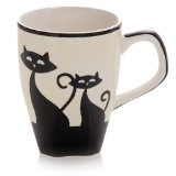 Set of 4 Hues&Brews Cattitude 12-Ounce Mugs