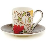 Hues N Brews Earth Espresso Cups and Saucers Set of 4