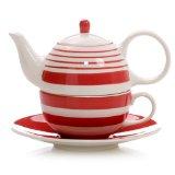 Hues&Brews Stripes Scarlet Tea for One