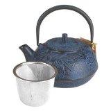 HuesnBrews Cast Iron Teapot - Blue Bamboo 20 oz.