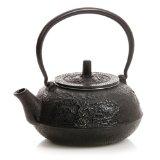 HuesNBrews Cast Iron 40 Ounce Black Teapot