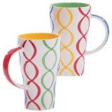 Hues&Brews Streamers 16-Ounce Tall Mugs Set of 4
