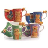 Hues&Brews Tabby Cats 14-Ounce Mug/Coaster Set of 4