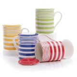 Hues&Brews Stripes 12-Ounce Infuser Mugs Set of 4