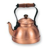 Old Dutch 2 Quart Decor Copper Teakettle With Satin Finish And Wood Handle