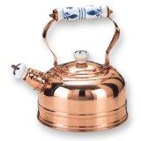 Old Dutch 1 3/4 Quart Decor Copper Whistling Teakettle With Delft Handle