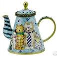 Kelvin Chen Enameled Miniature Tea Pot Cats in Ties