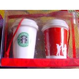 Starbucks Christmas Ornaments - Ceramic Mini Red and White Cups 2006
