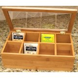 Lipper 8189 Divided Bamboo Tea Box with Clear Lid