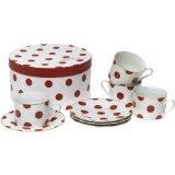 Rosanna Red Dots Gift-boxed Teacups and Saucers