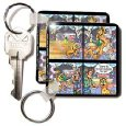 Londons Times Funny Cat Cartoons - Expresso Cat at Starbucks - Key Chains
