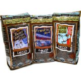 Larrys Beans Organic Rat Pack Set: Frankie's Blend, Bean Martin, Louie Supremo, Whole Bean