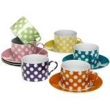 Yedi White Dots Teacups and Saucers
