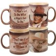 John Wayne Quotes Ceramic Coffee Mugs Set of 2