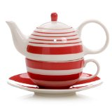 Hues&Brews Stripes Scarlet Tea for One