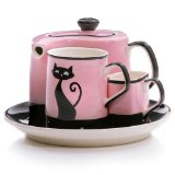 Hues&Brews Cattitude Pink Service For 1