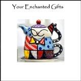 Romero Britto ceramic Cat kitten Tea for One Teapot Cup